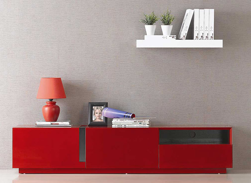 Rode tv meubel in hoogglans met lades